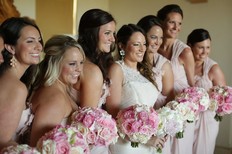 pink bridesmaids bouquets destination weddings cabo elena damy wedding planners mexico chris plus lynn