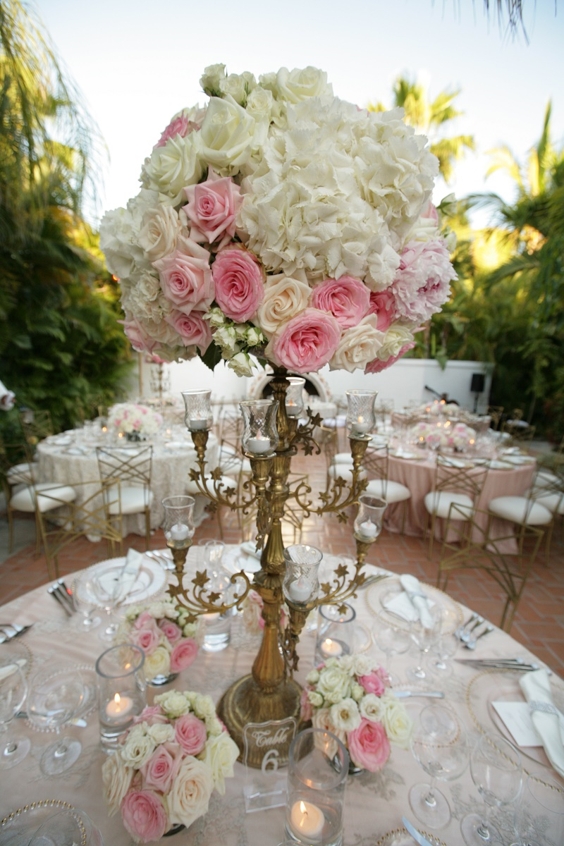 tall gold centerpieces Cabo Weddings One and Only Palmilla Elena Damy Event Design Cabo Chris Plus Lynn Photo