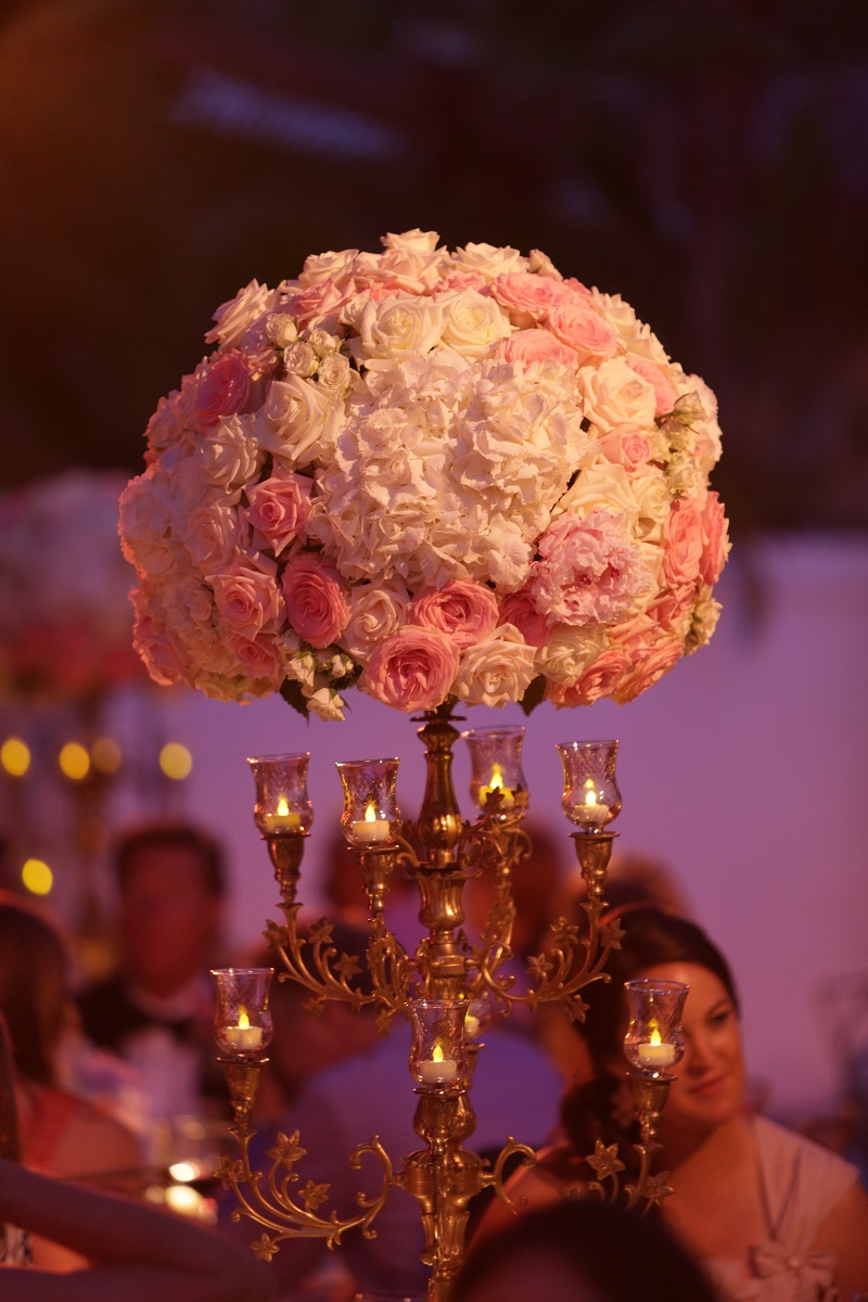 tall traditional floral centerpieces gold pink and white Cabo Weddings One and Only Palmilla Elena Damy Event Design Cabo Chris Plus Lynn Photo