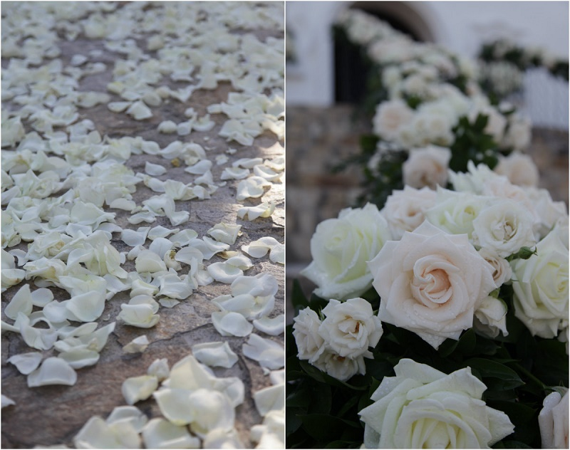 white blush roses aisle decor ourtdoor floral garlands destination weddings cabo elena damy floral designer