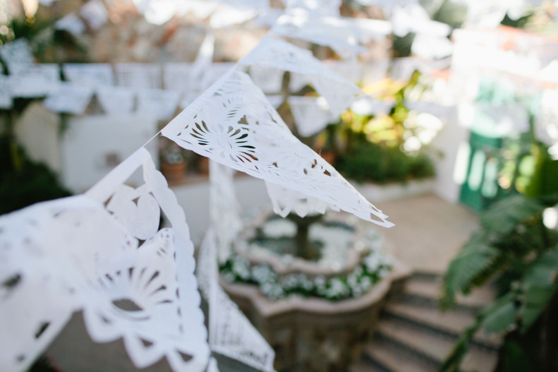 white papel picado baja mexico colored papers elena damy wedding designers