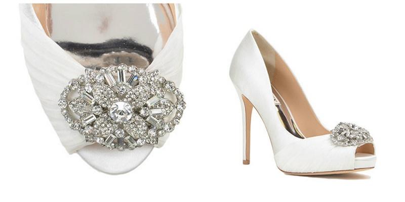 9a0ecbf4a0b5 Desi Embellished Toe Evening Shoe White Satin Wedding Shoes Badgley Mischka