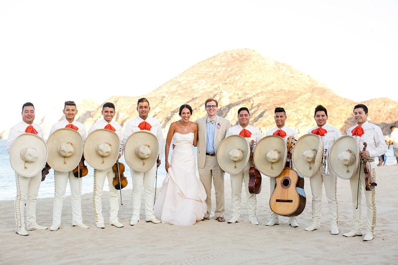 Mariachi Bands with Bride and Groom Cabo San Lucas Elena Damy Floral Design Nancy Aidee Photography