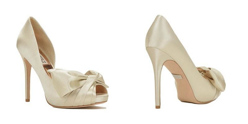 Niara Bow Detail Evening Shoe Cream Satin Champagne Wedding Shoes Ivory Heels for Brides Badgley Mischka
