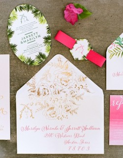 Pink Ombre Real Wedding Invitations Cabo San Lucas Elena Damy Floral Design Destination Weddings NancyAideePhotography