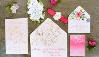 Pink Ombre Real Wedding Invitations Cabo San Lucas Elena Damy Floral Design Destination Weddings NancyAideePhotography