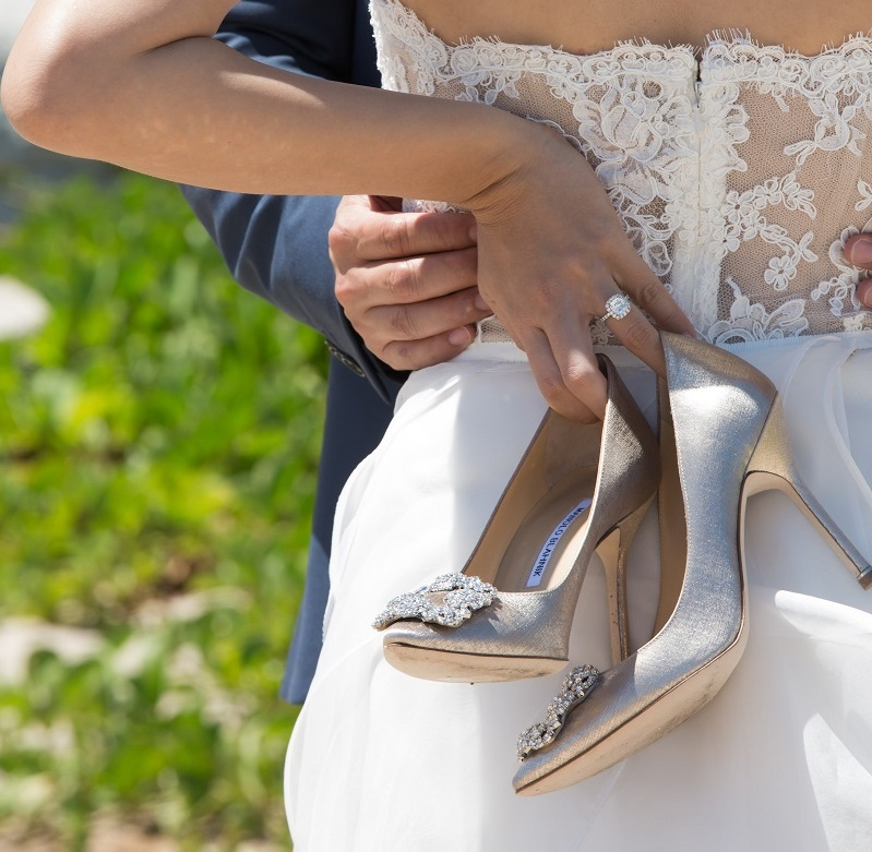 ShoesdayTuesday Manolo Blahnik Gold Satin Bridal Shoes Wedding Heels Elena Damy destination wedding planners 4 eyes photo