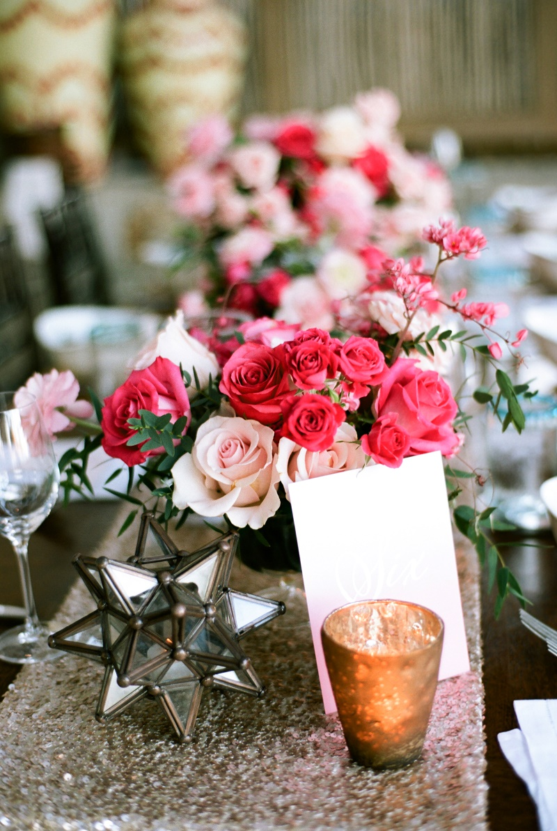 hot pink and blush roses gold accents wedding design mexico elena damy floral design nancy aidee photography