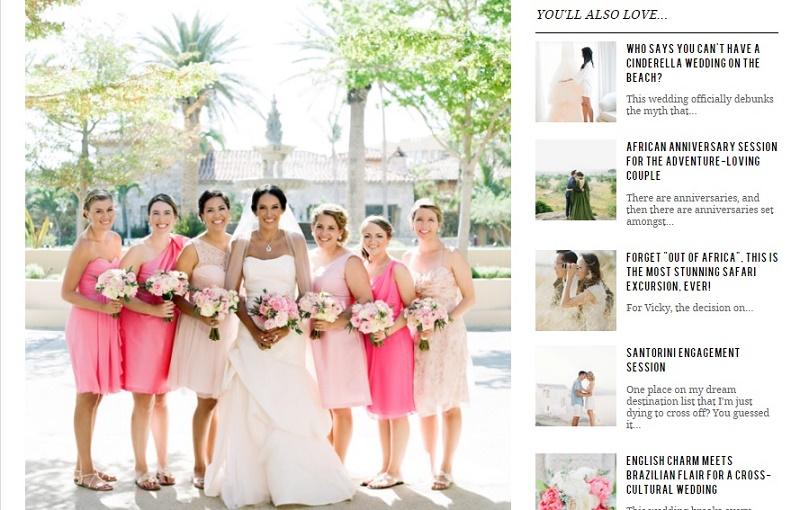 pink ombre bridesmaids style me pretty destination weddings mexico elena damy floral designer pink and gold weddings hacienda cocina i cantina cabo san lucas