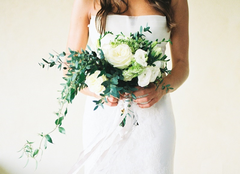 white bridal bouquet organic greens roses lisianthus elena damy floral design cabo florists 2