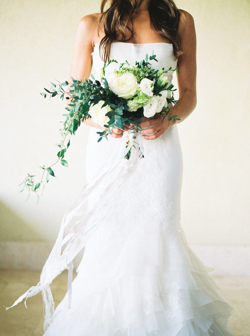white bridal bouquet organic greens roses lisianthus elena damy floral design cabo florists