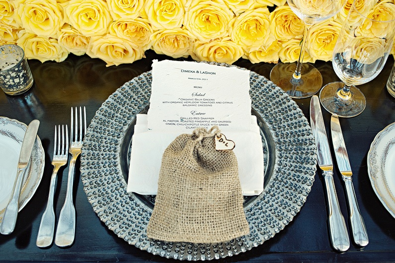 tablesettings-burlap-bag-favors-yellow-roses-weddings-in-mexico-elena-damy-meka-and-shon
