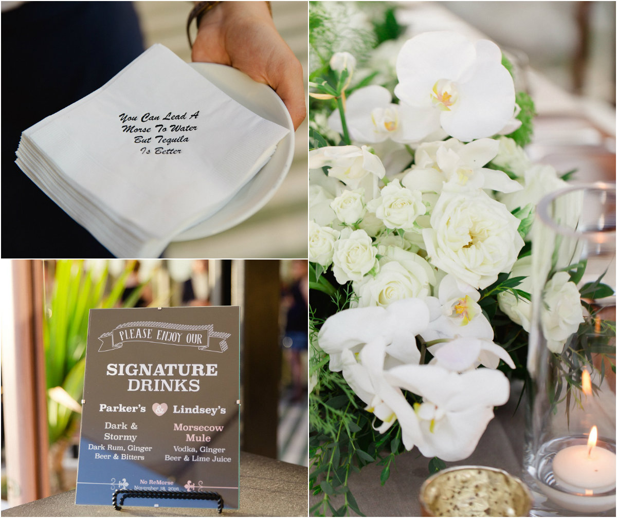 wedding details signature drinks cocktail napkins cabo wedding planners elena damy