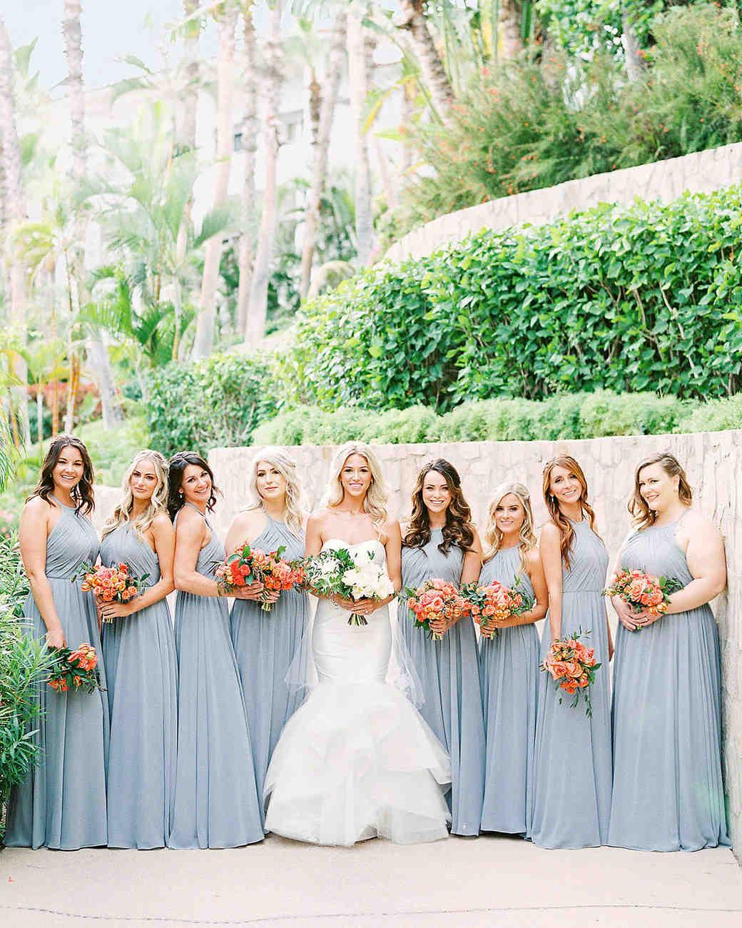 Grey Bridesmaids Dresses Orange Bridal Boutquest Mexico Wedding Designers Elena Damy Justin Turner Wedding