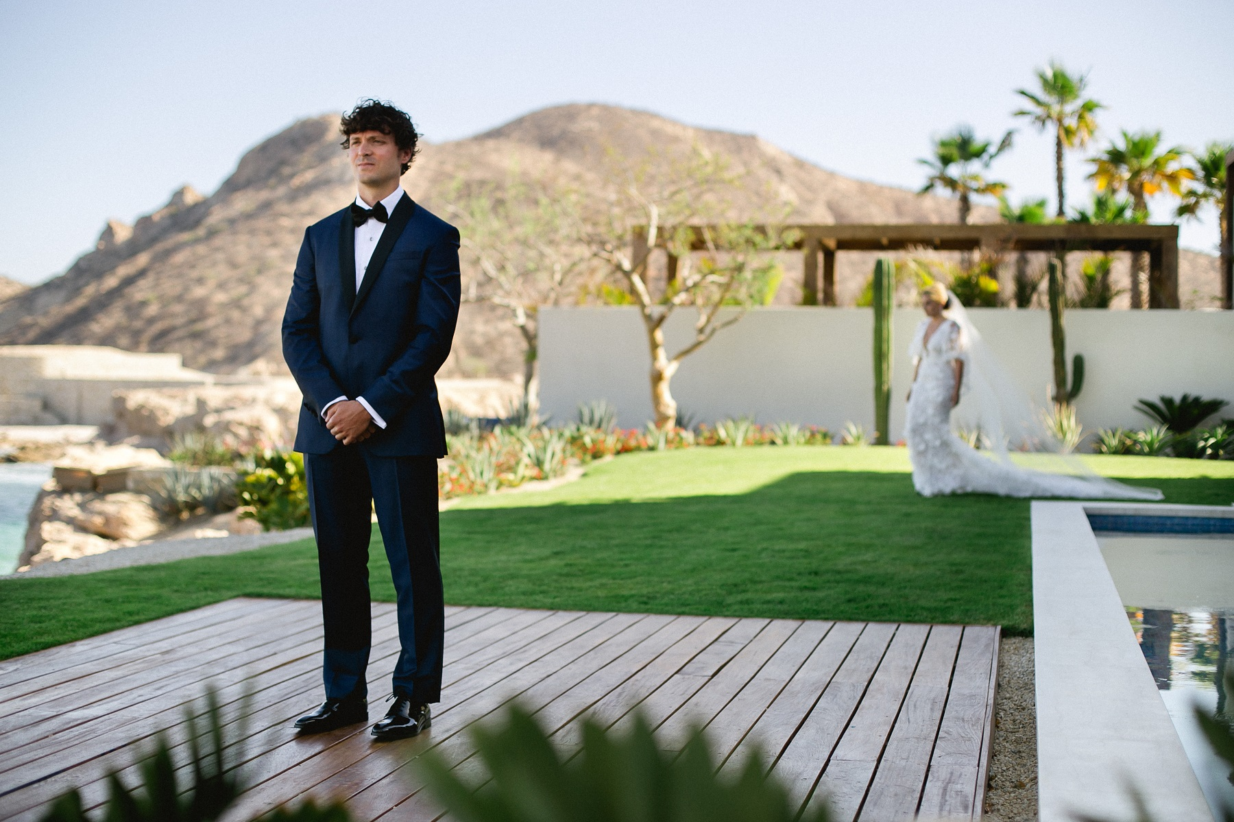 First look photo session wedding day elena damy weddings cabo destination weddings