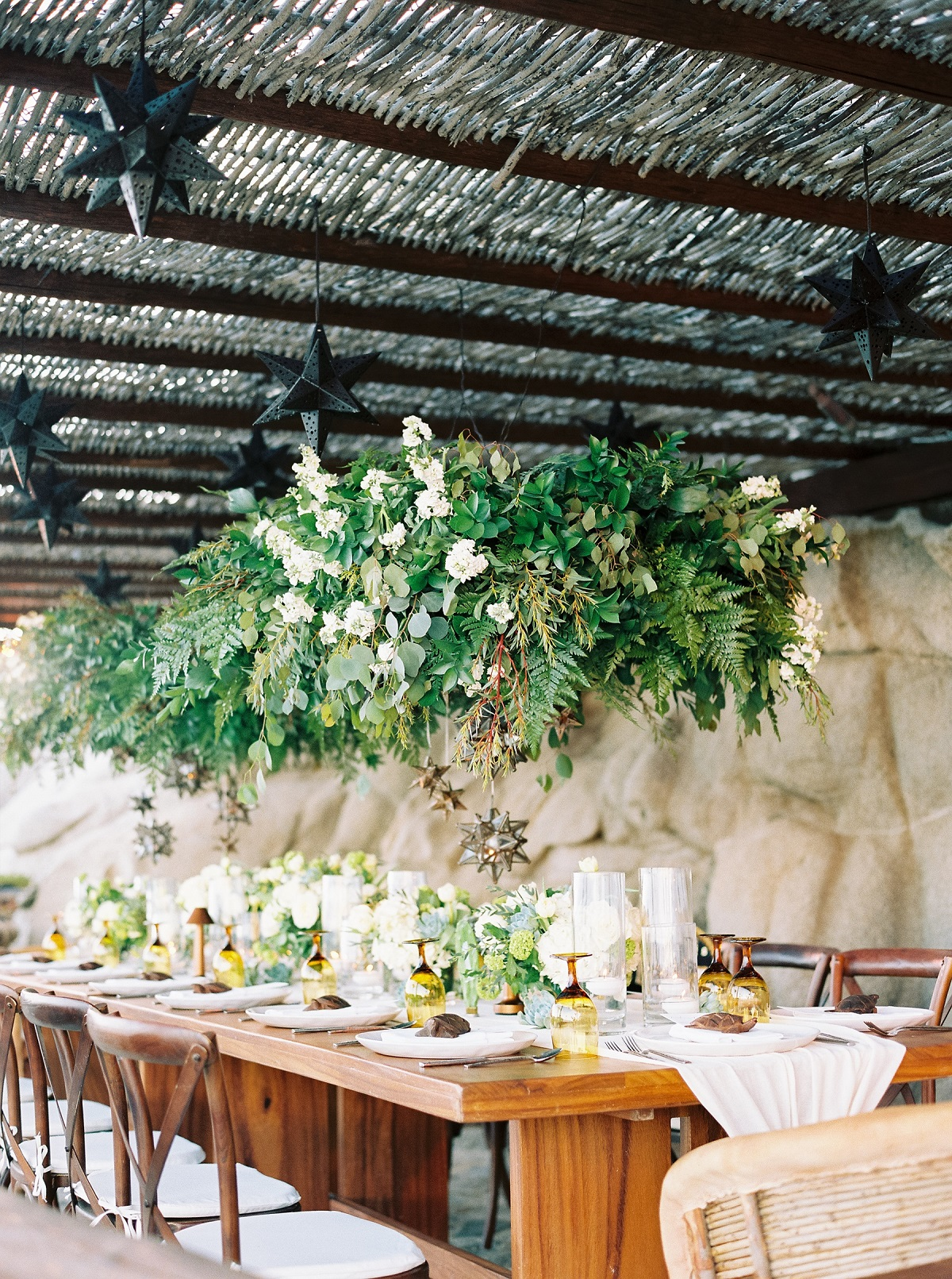 Long tables for weddings hanging flowers cabo wedding