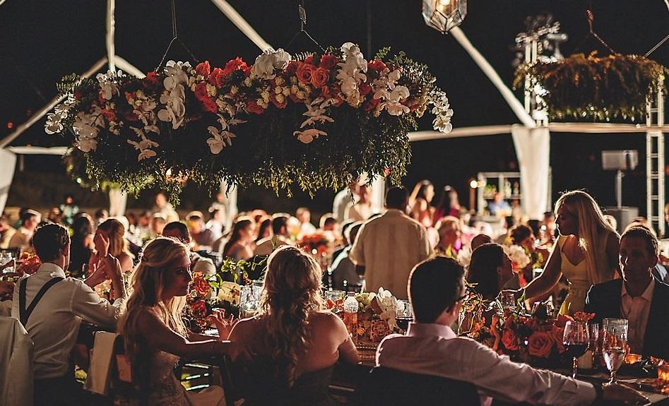 Outdoor wedding receptions long tables
