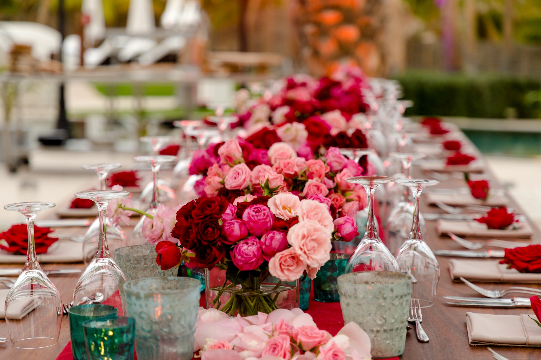 Elena Damy Red And Pink Centerpieces Long Reception Table Design