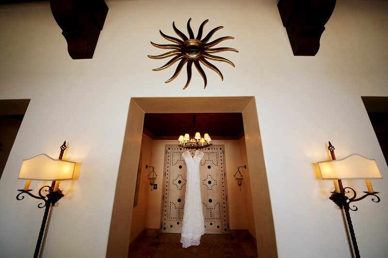 hanging wedding dress photos palmilla resort cabo