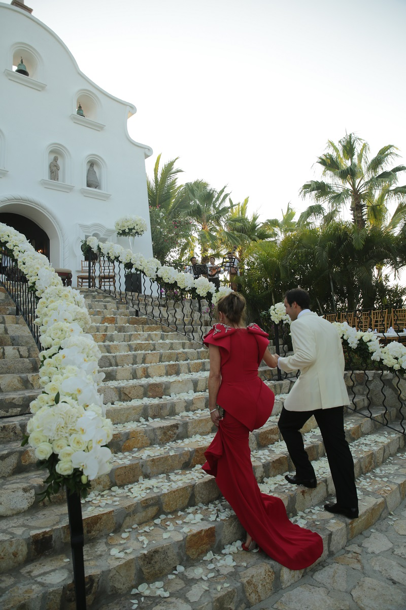 groom escorts mother wedding ceremony chapel palmilla los cabos