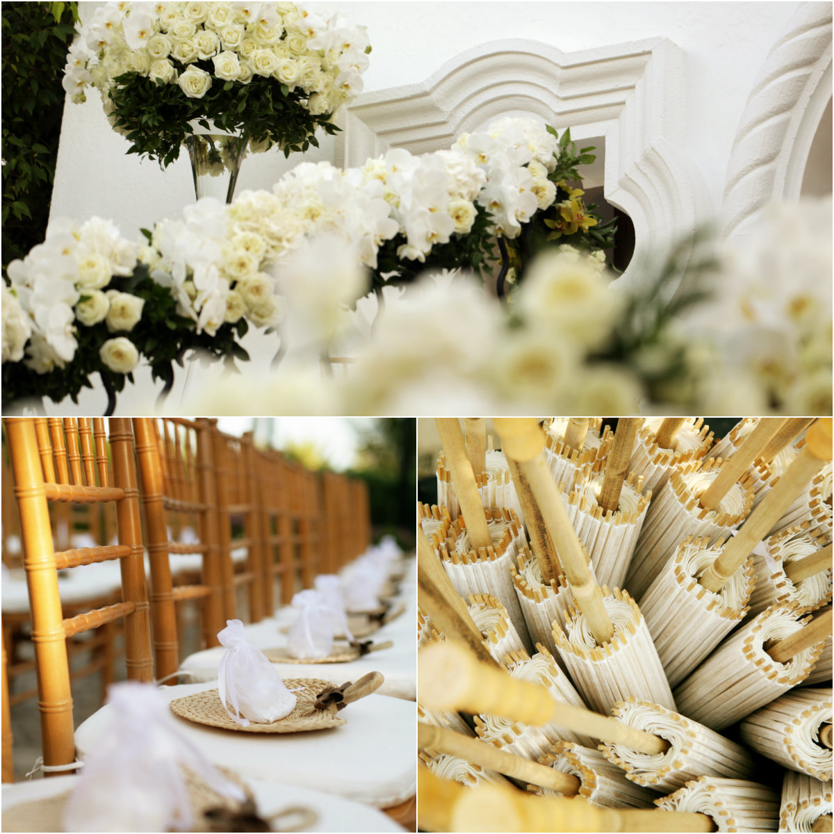 white roses and orchids for outdoor mexico weddings los cabos