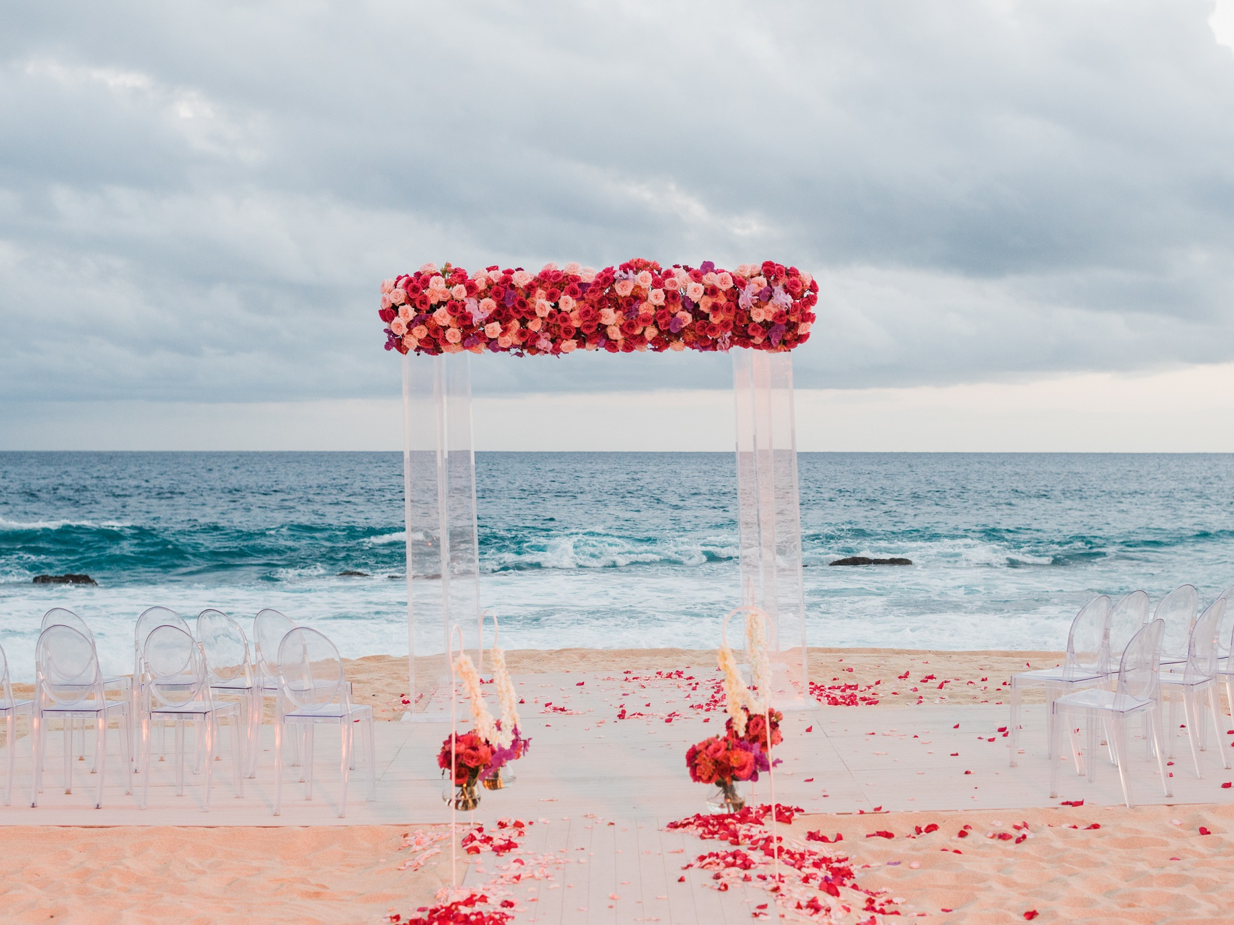 red and pink wedding flowers mexico weddings elena damy