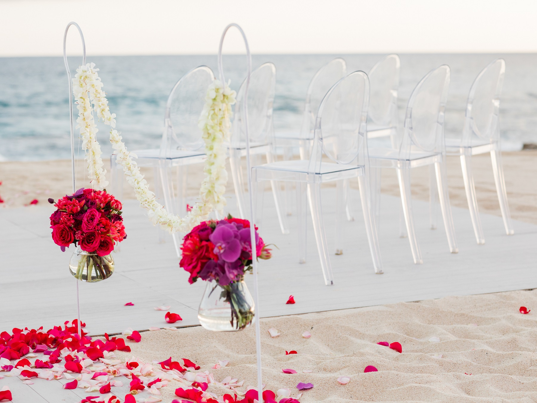 lucite wedding chairs red flowers beach weddings mexico elena damy