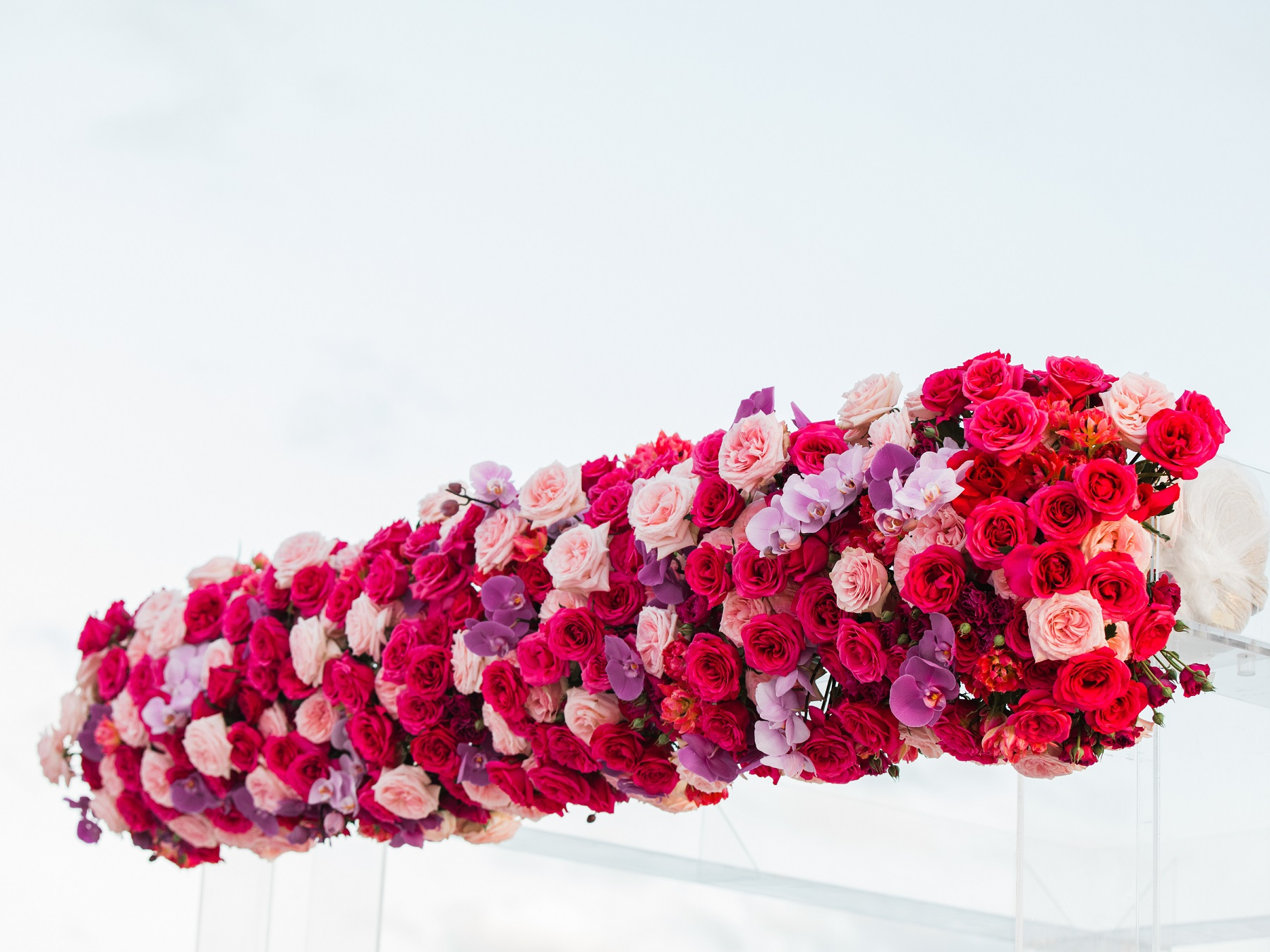 red roses pink roses purple orchids wedding ceremony arch elena damy cabo weddings