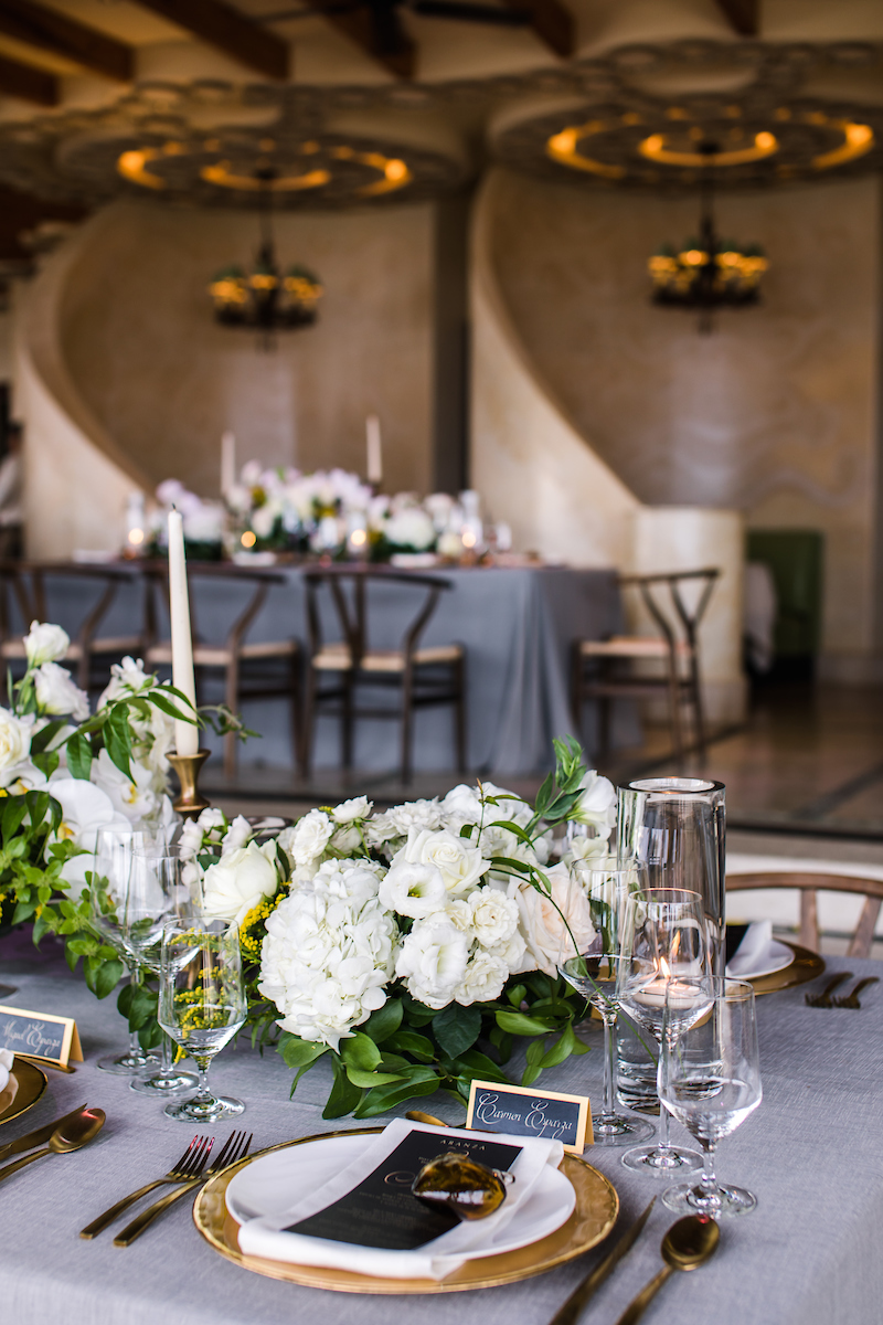 white floral centerpieces outdoor weddings mexico elena damy