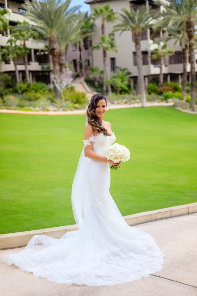 lace wedding gown beach wedding