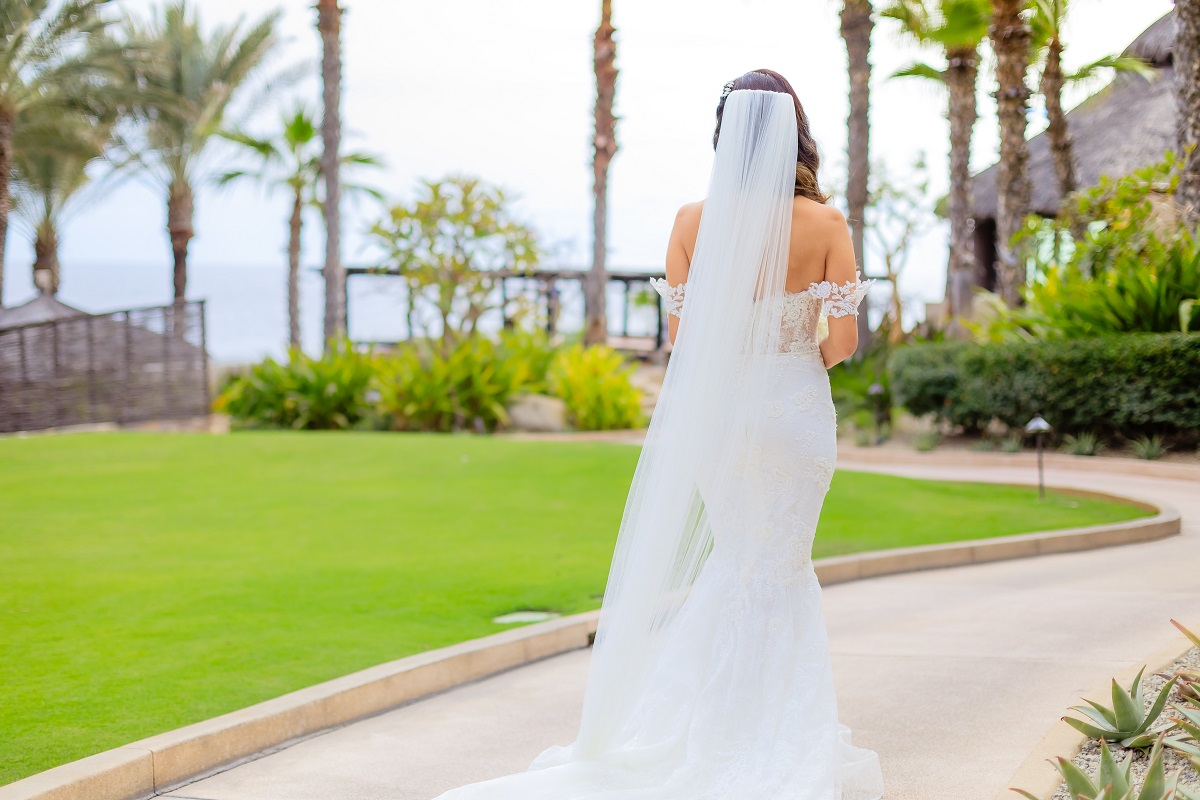 cabo church wedding long veil lace gown