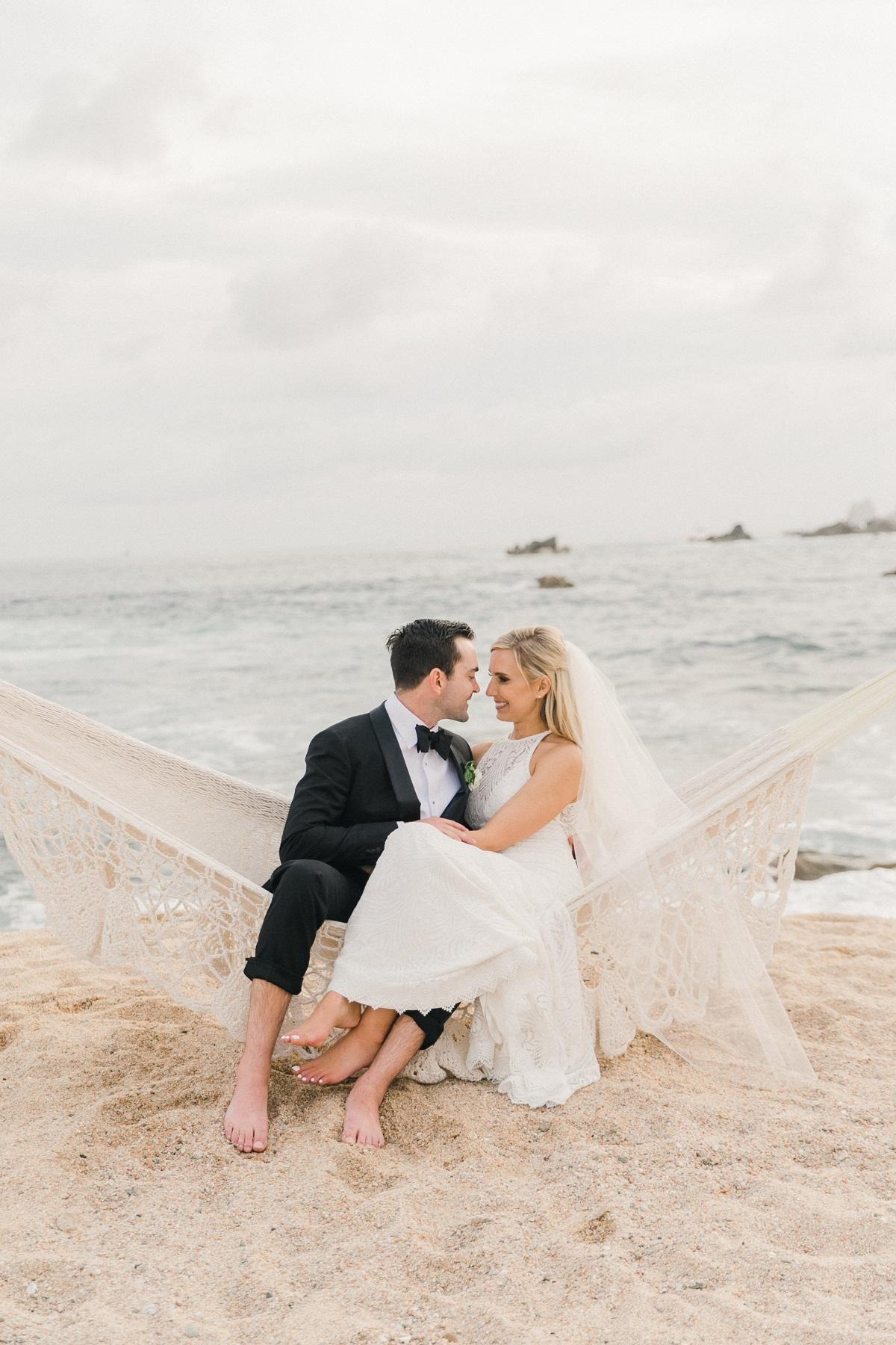 bride and groom hammock