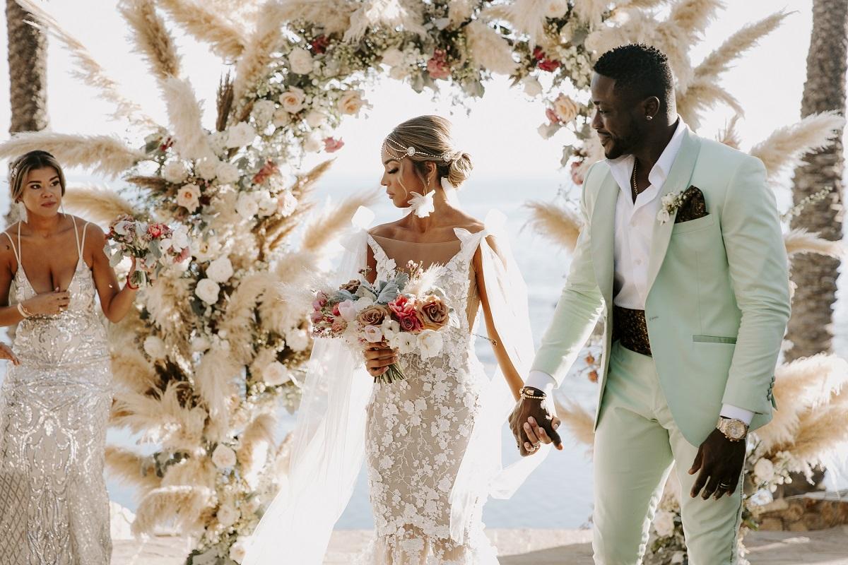 boho bride galia lahav wedding gown pampas grass cabo san lucas