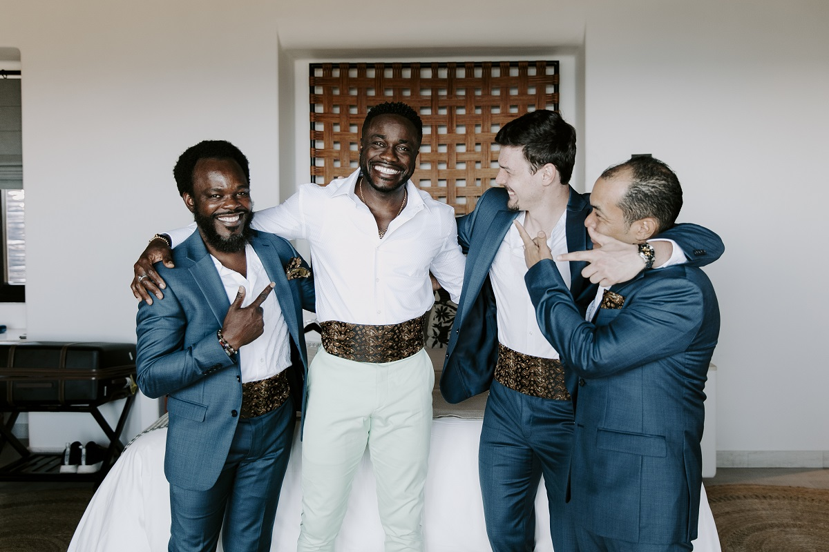 black groom destination wedding mexico