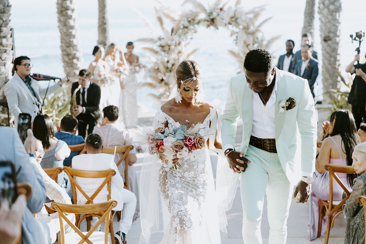 mint green suit groom style boho wedding esperanza resort cabo